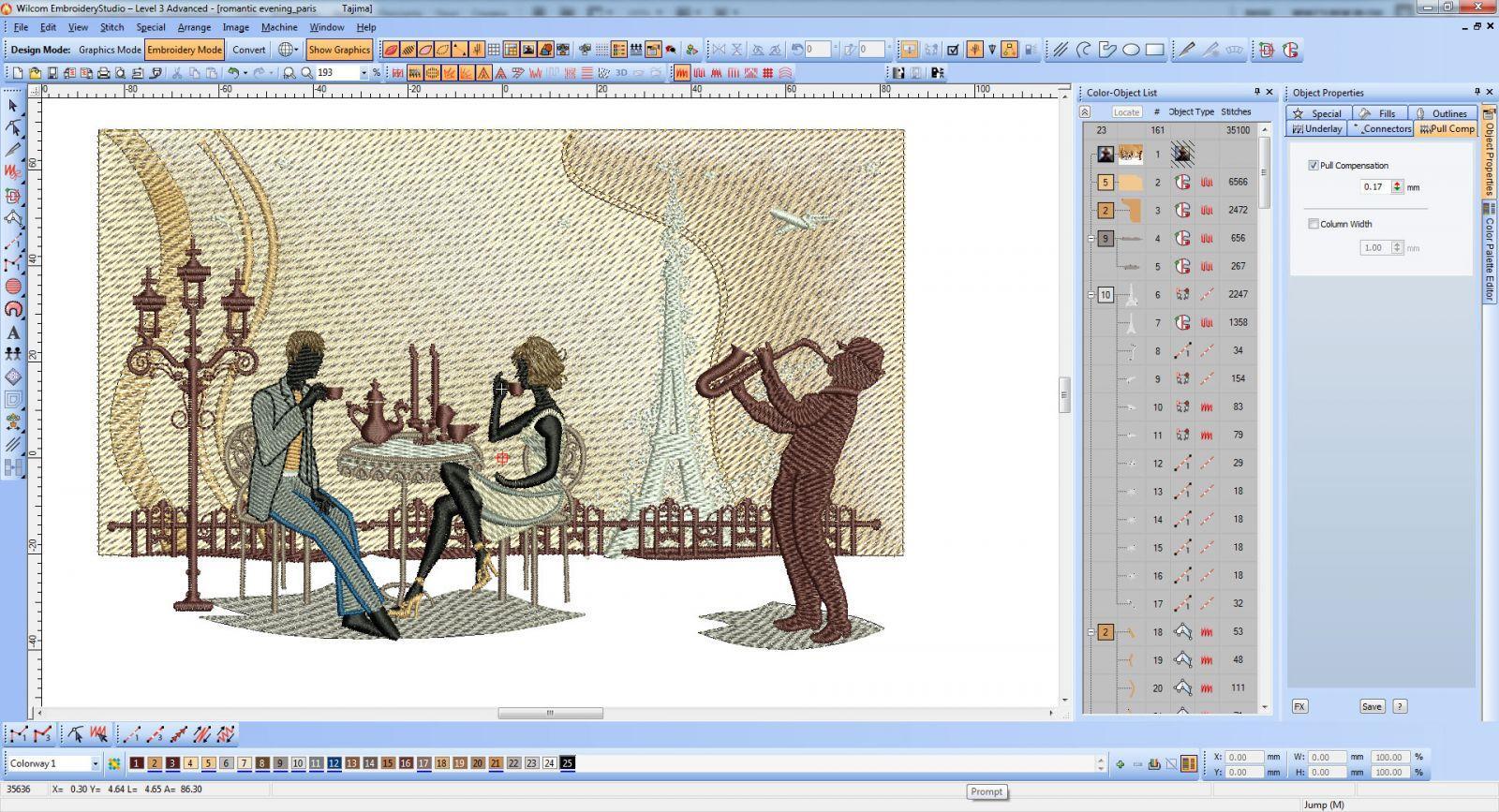 Romantic evening free embroidery design screen shot