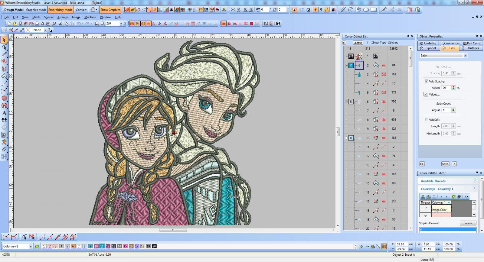 Frozen sisters embroidery design screenshot in Wilcom