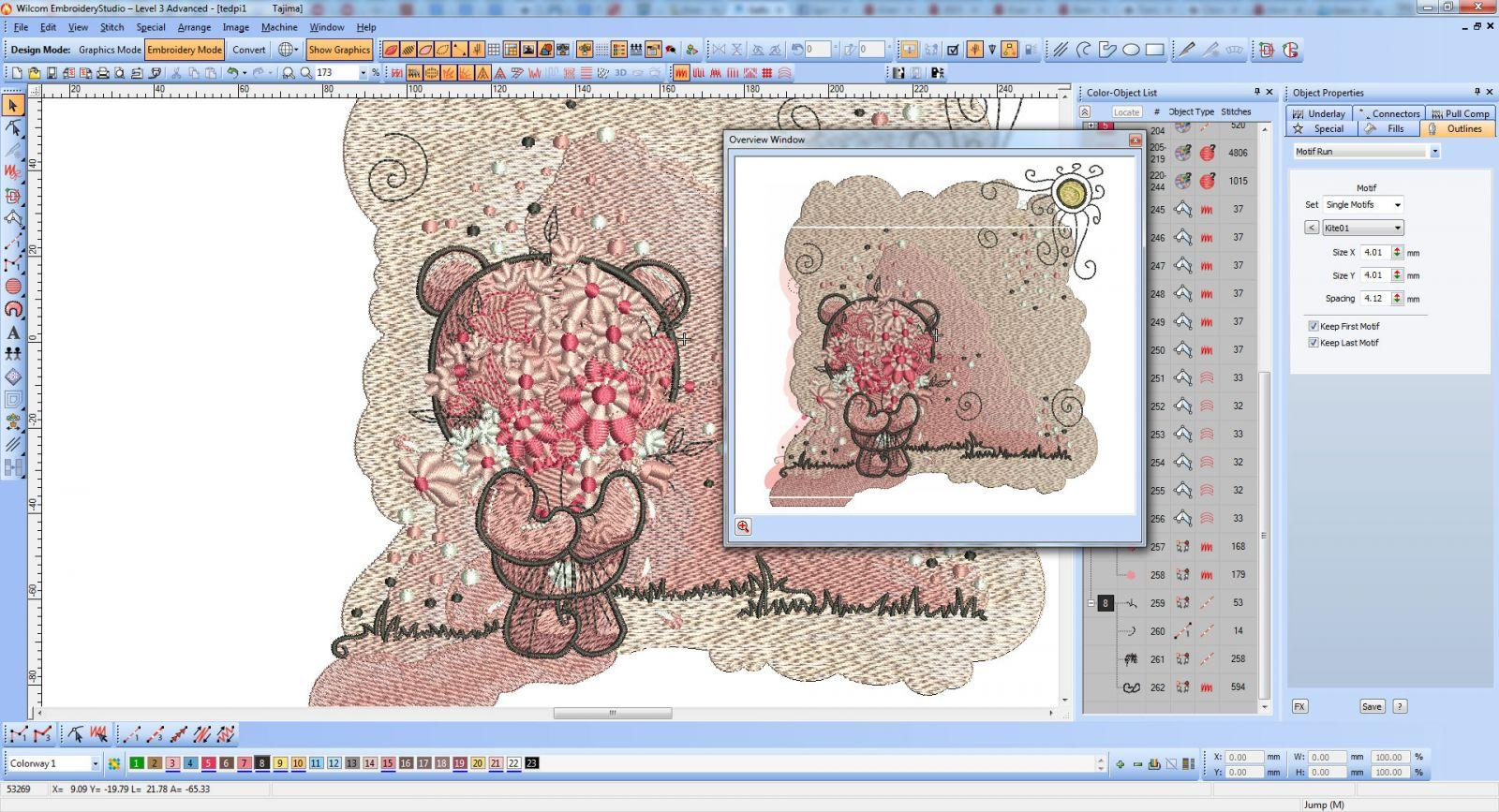 Teddy with pink flower - Wilcom screen shot