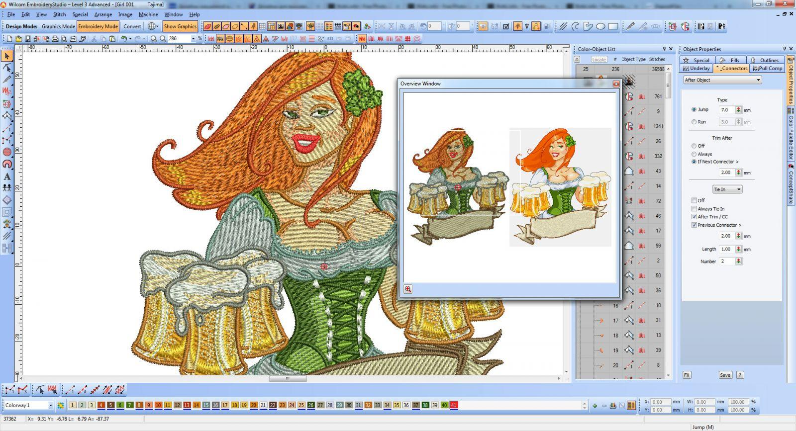 Beer Girl embroidery design at Wilcom  - screen shot