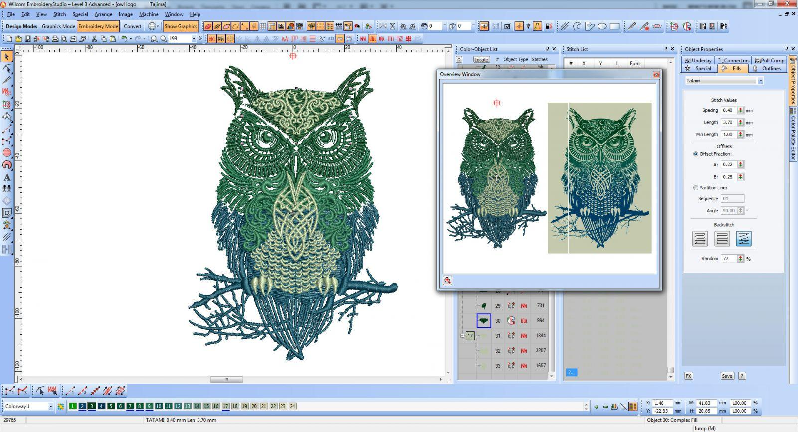 Tribal Owl embroidery design screen shot at Wilcom software