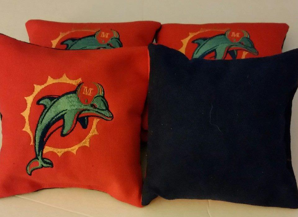 Miami Dolphins logo embroidered at pillow