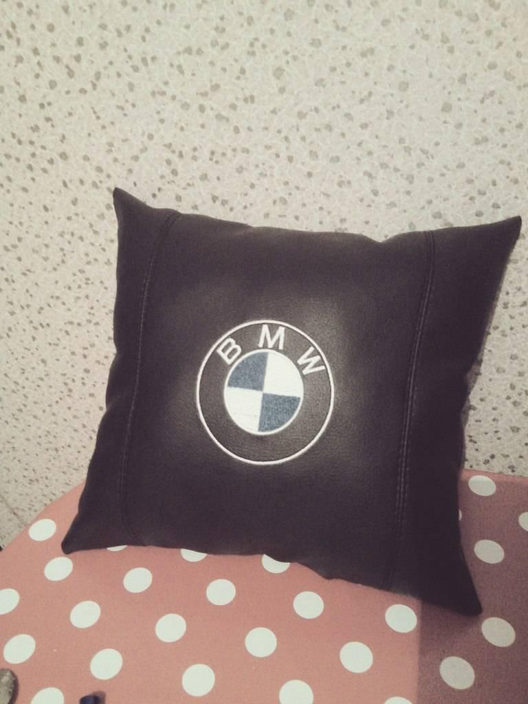 BMW embroidered pillow design