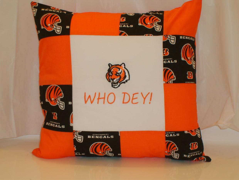Embroidered pillow with Cincinnati Bengals tiger baseball logo