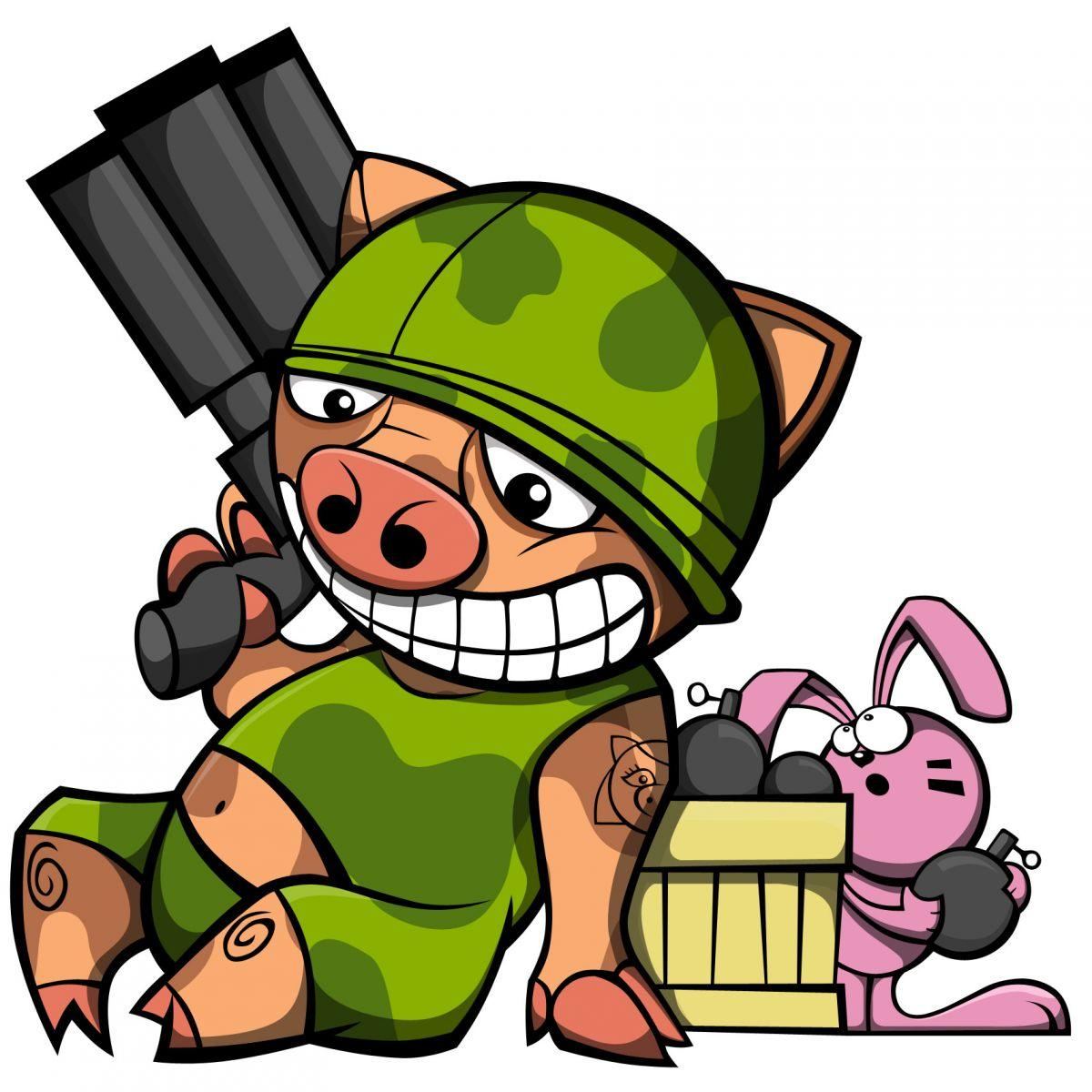 Pig and Bunny with bomb