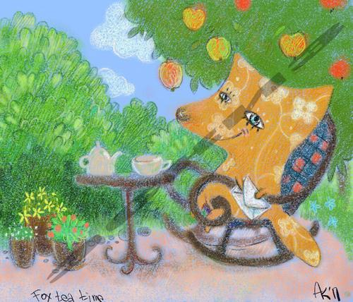 Fox in garden dink tea