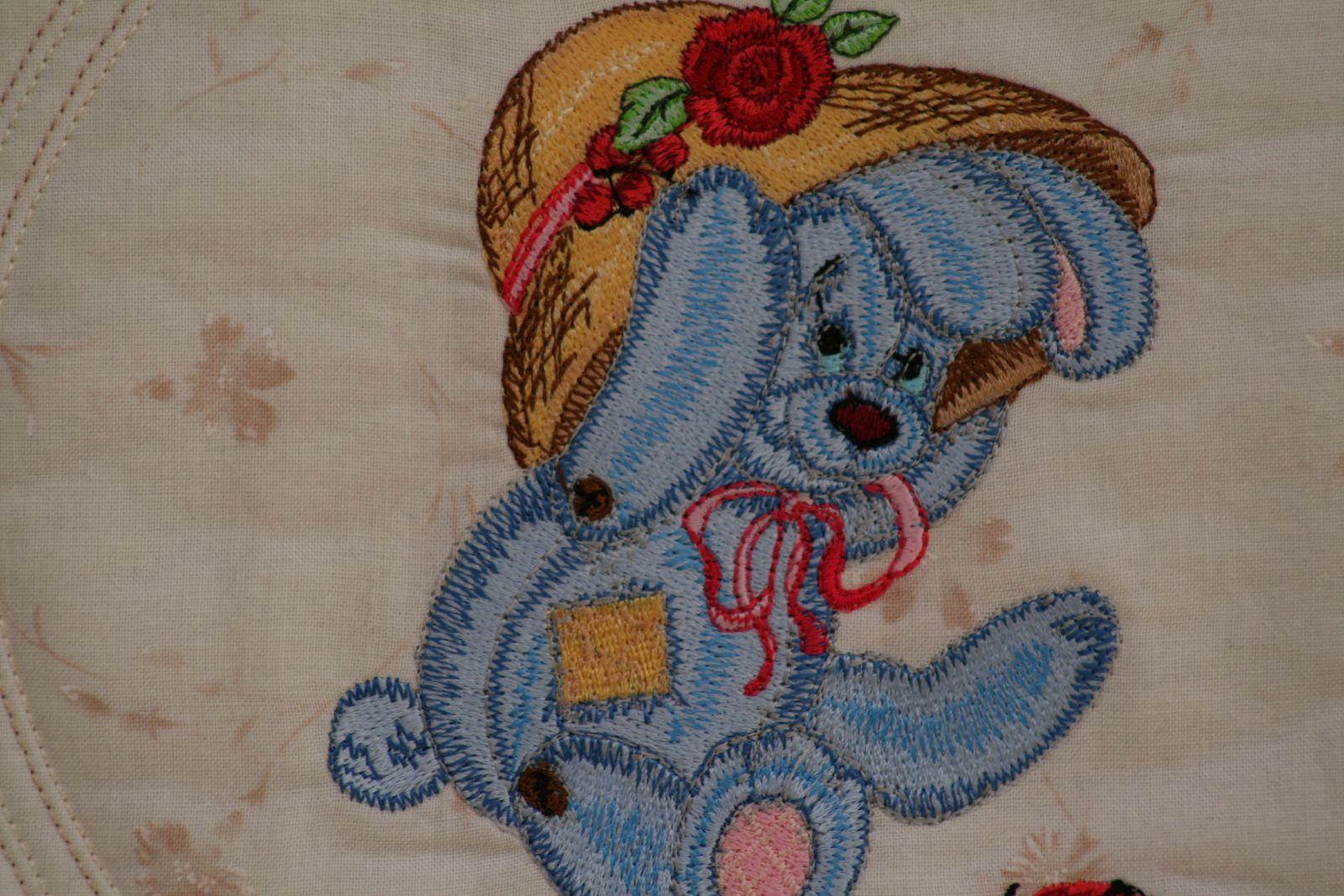 Bunny at embroidery quilt