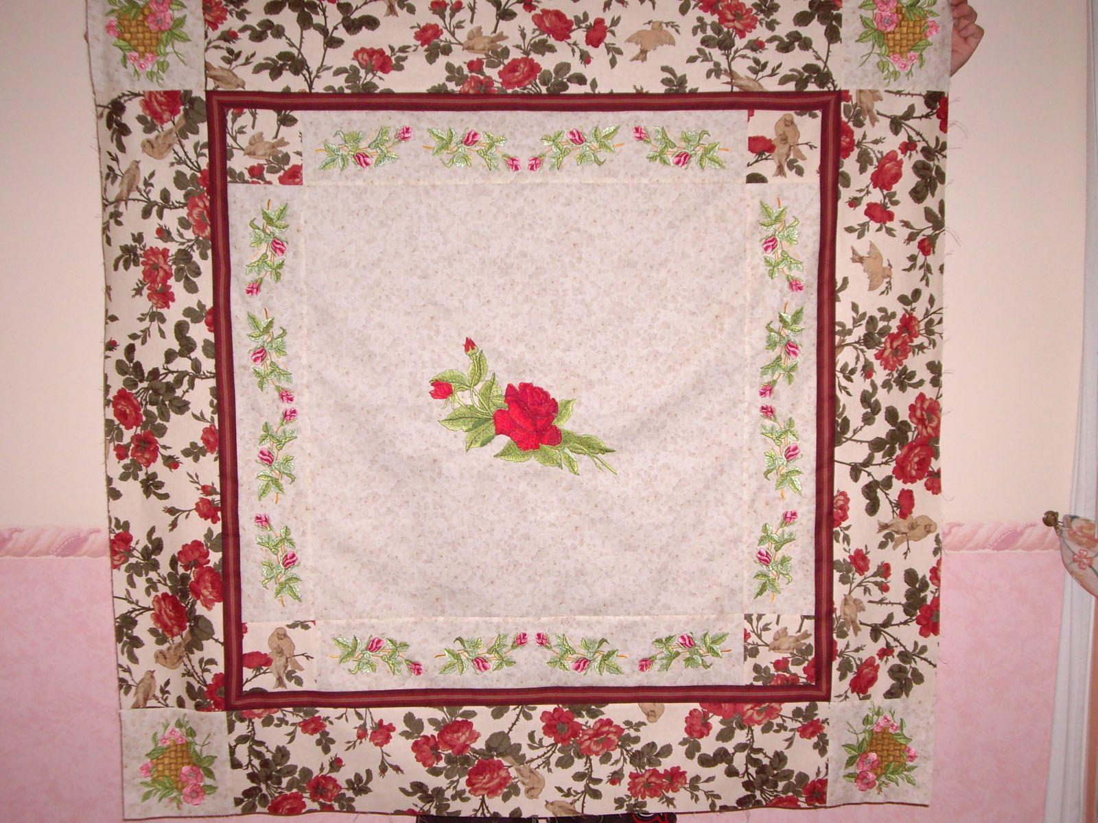 Rose garden blanket embroidered quilt
