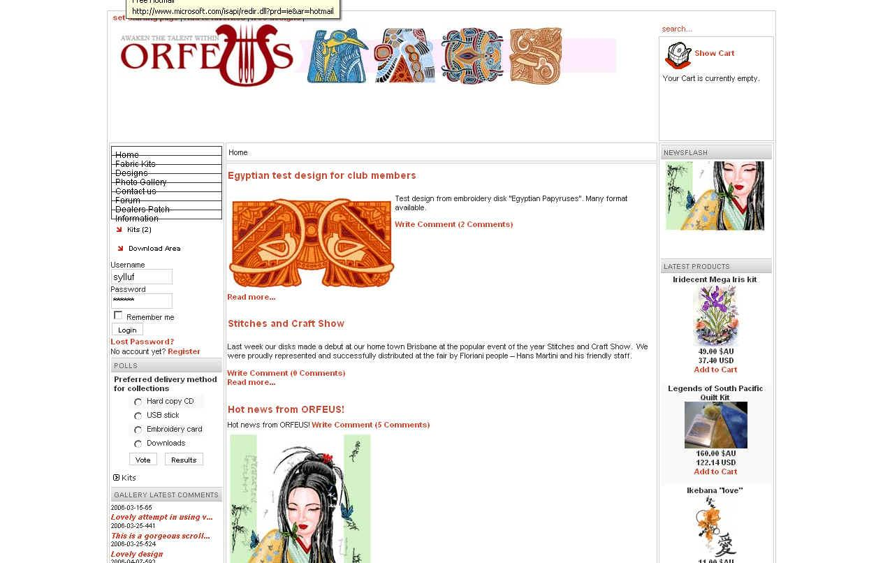 Orfeus embroidery on-line shop look in Firefox