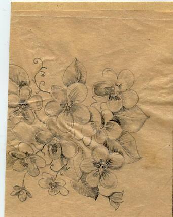 Original sketches for flower embroidery collection