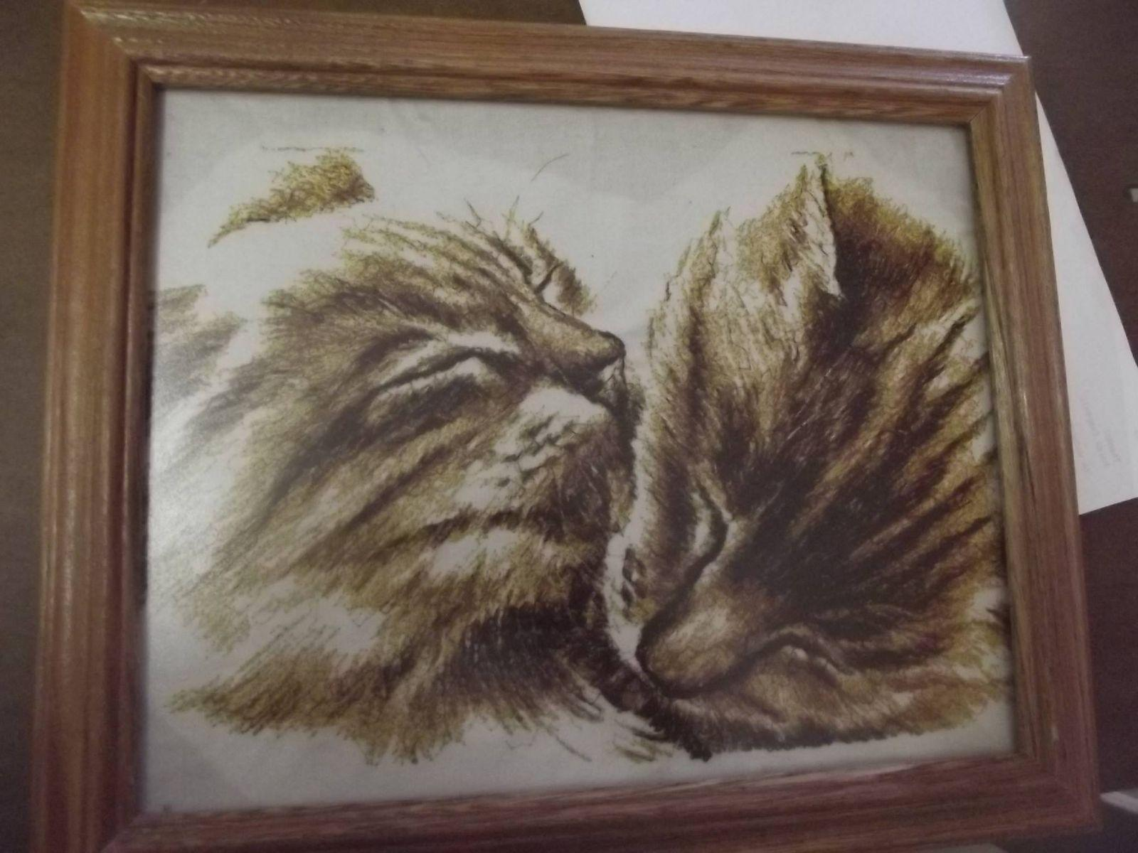 Two loving kittens embroidered In frame