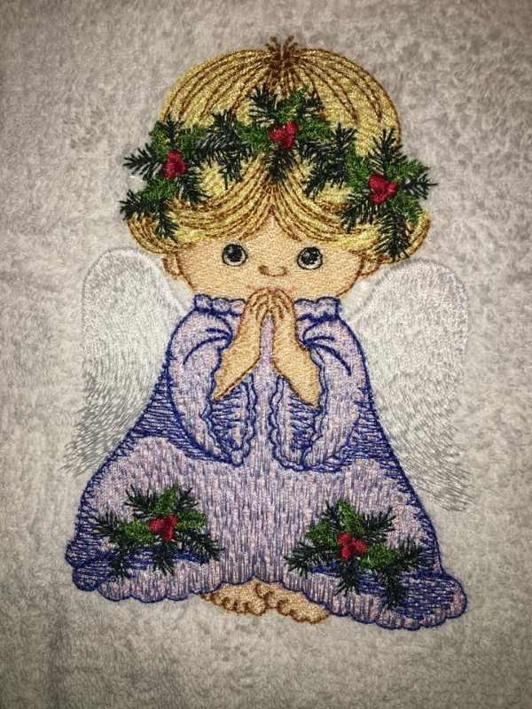 Praying angel with white wings embroidery design