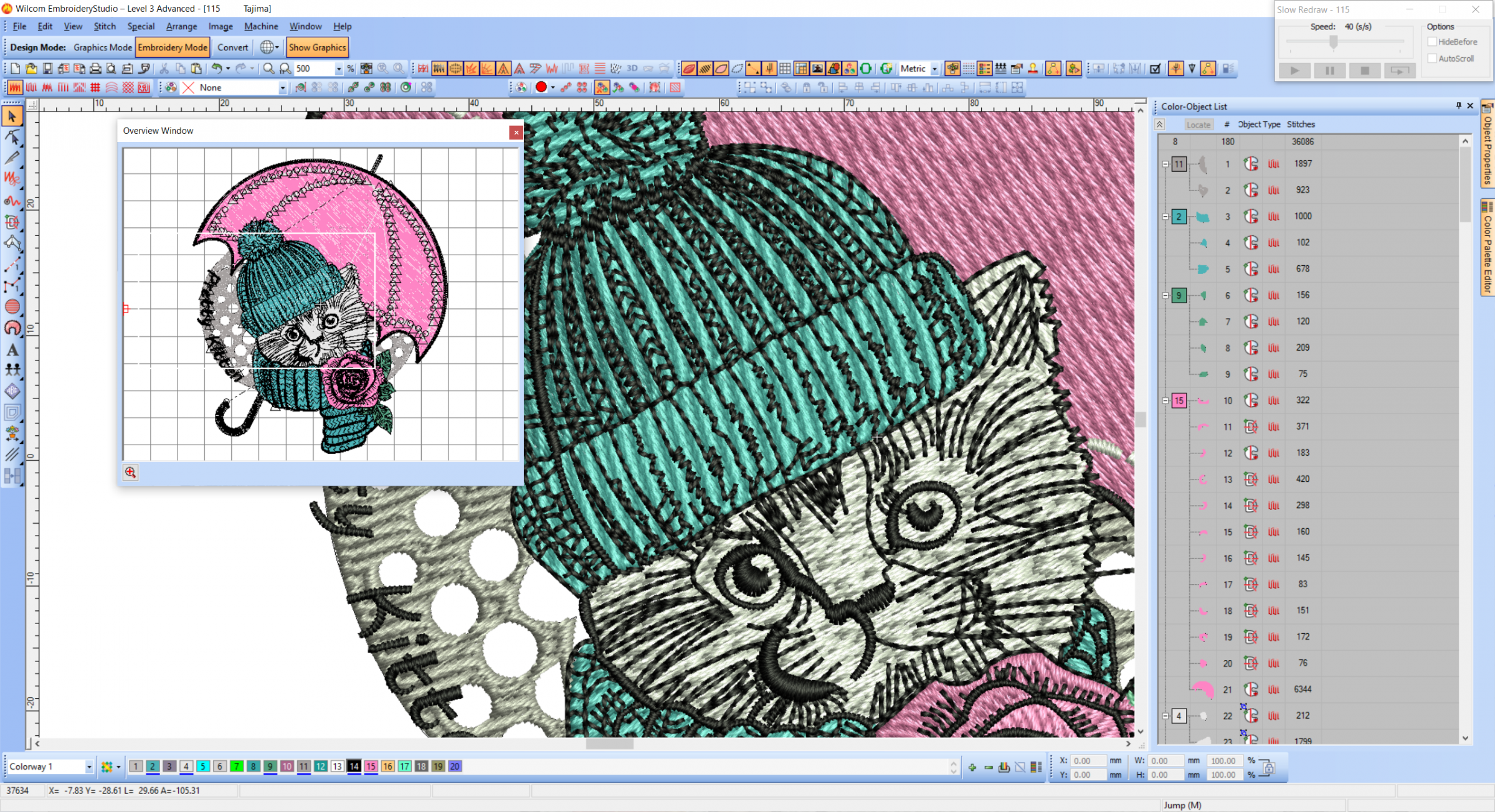 Pretty kitty Wilcom preview embroidery design
