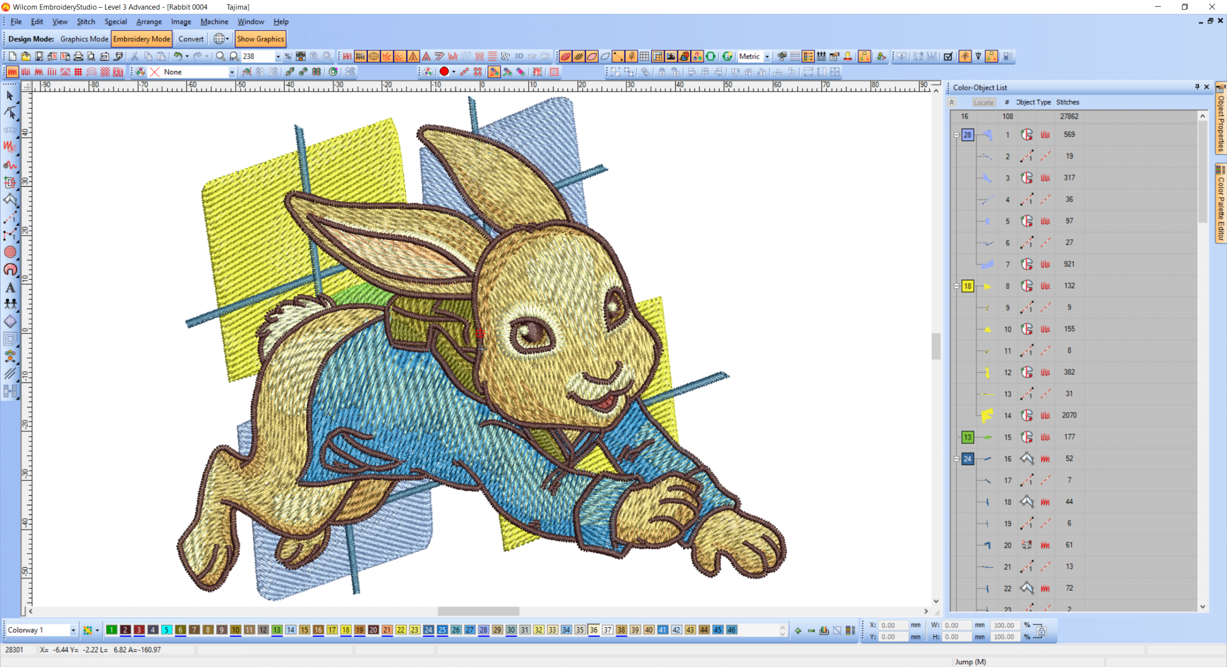 Rabbit embroidery design preview