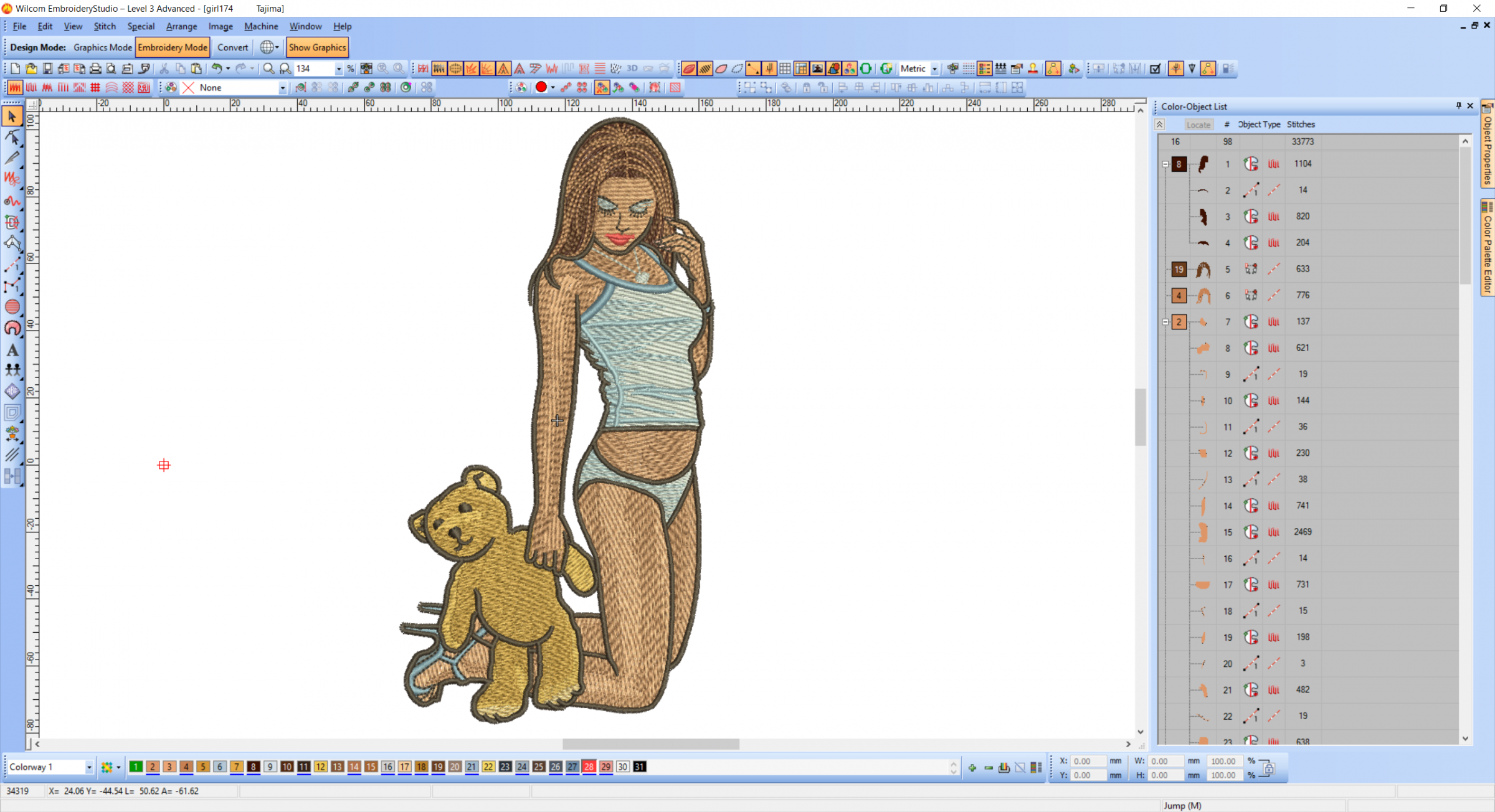 Sexy girl with teddy bear toy embroidery design preview