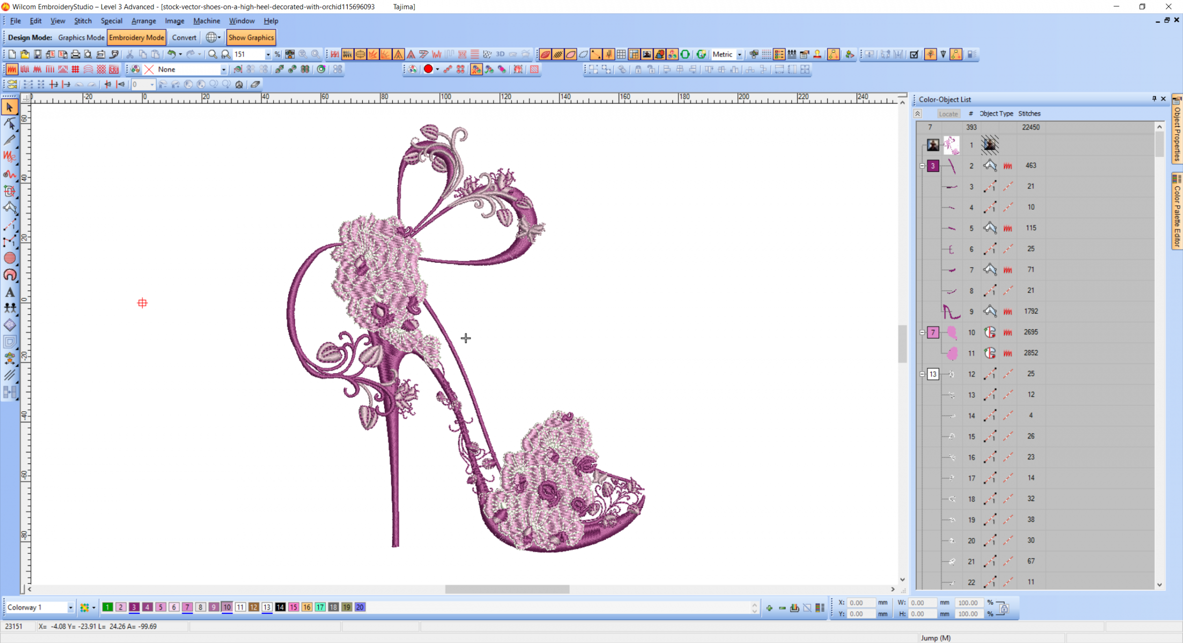 Shoes on a high heel decorated with orchid embroidery design preview