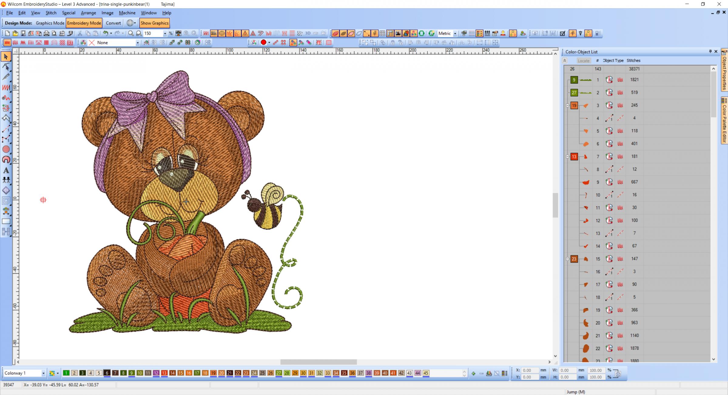 Teddy Bear in garden embroidery design preview software