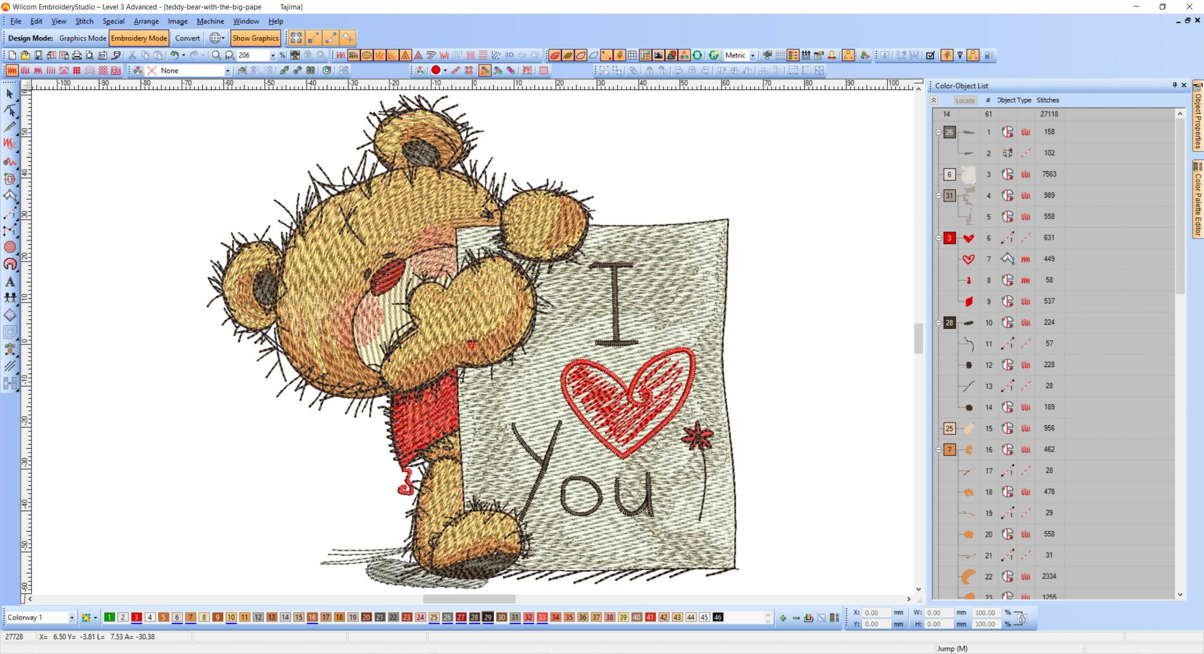 Teddy Bear with i love you board embroidery