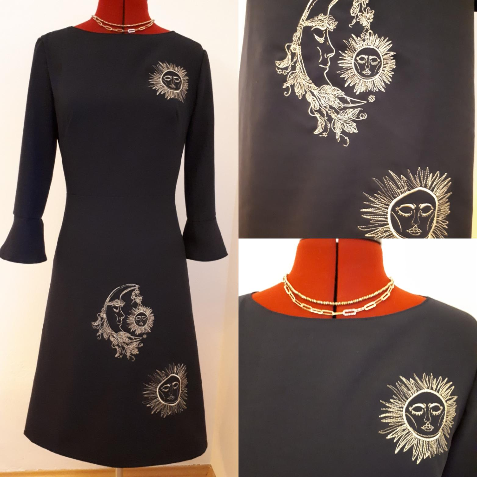 Embroidered dress with Sun and moon design