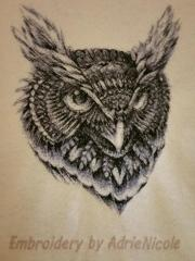 Black owl free embroidery design