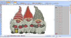 3 Christmas dwarfs embroidery design preview