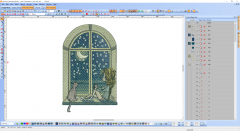 Girl, cat, moon and night romantic embroidery design preview