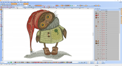 Cute owl embroidery design preview digitizing