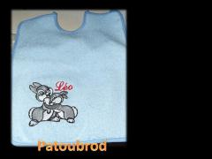 Bunnies on the bib machine embroidery design