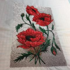 Poppy free photo embroidery
