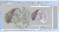 Angel embroidery design preview digitizing
