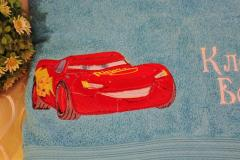 Bath towel with Red Race Car embroidered towel