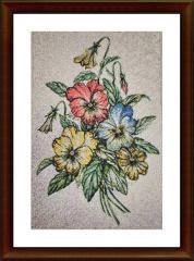 Bouquet embroidered photo stitch free design