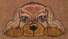 Cute spaniel embroidery design