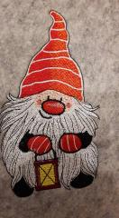 Dwarf with lamp embroidery design
