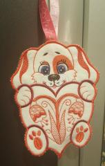 Embroidered applique orange dog on the loop