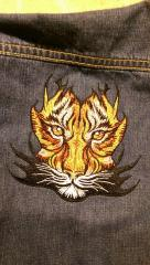 Embroidered jeans jacket with tribal tiger