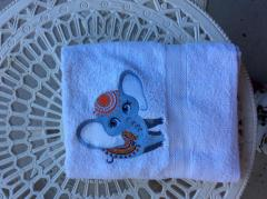 Embroidered towel circus elephant