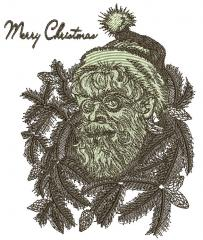 Santa Claus embroidery design hipster version