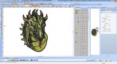 Dragon embroidery design screen shot from Wilcom software