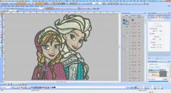 Frozen sisters embroidery design screenshot in Wilcom