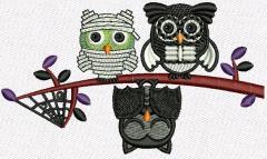 Halloween owls embroidery design