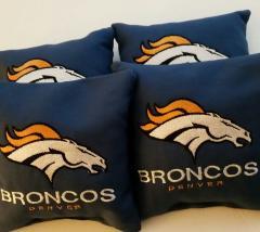 Pillow with Denver Broncos logo design