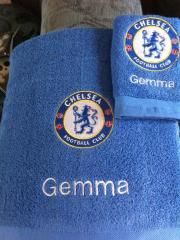 Embroidered towels with Chelsea logo