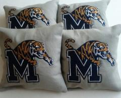 Memphis tigers logo at embroidered pillow
