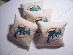 Miami Dolphins embroidered pillow