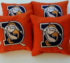 Embroidered pillow with Denver Broncoc logo design