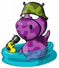 Hippo and little duck art