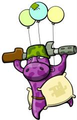 Flying Hippo with gun Art
