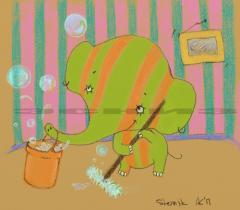Little cute elephant clean room