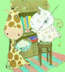 Giraffe and lamb